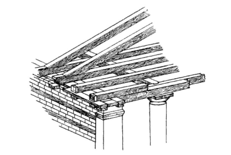 Structure of Greek temple roof, showing the origins of triglyphs in the ends of beams: Franz von Reber