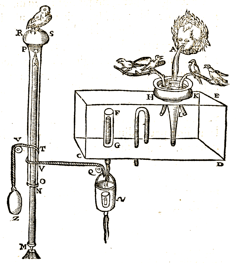 Automaton from Hero of Alexandria's <em>Pneumatics</em>: singing birds are frightened by an owl