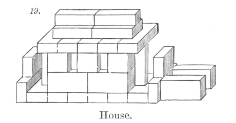House built from Fröbel blocks; from Maria Kraus-Boche and John Drauss, <em>The Kindergarten Guide</em>, New York 1877