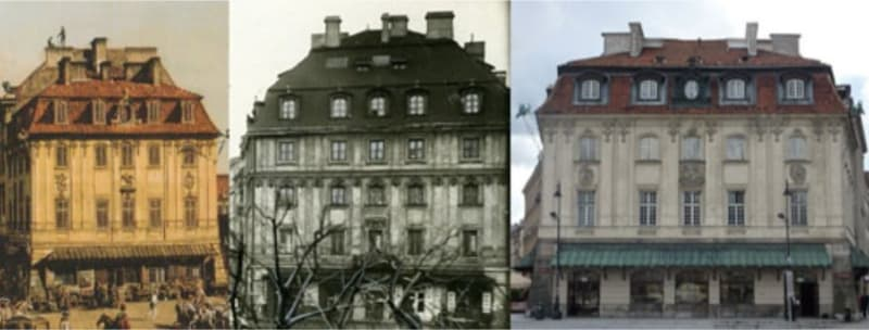 John's House on Castle Square, Warsaw, as painted by Bellotto, photographed before WW2, and reconstructed after the War: images from Philip McCouat, <em>Journal of Art in Society  </em>2015