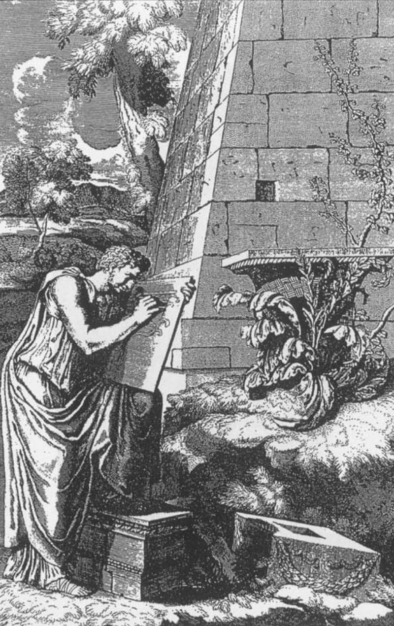 Drawing by Roland Fréart de Chambray of the Greek sculptor Kallimachos sketching a basket covering an acanthus plant