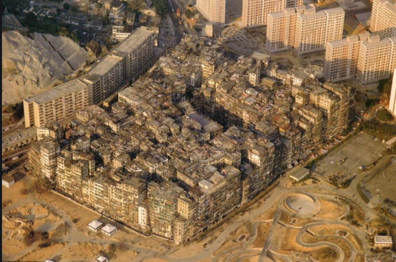 The Walled City of Kowloon from the air: photo by Ian Lambot, from 'City of Darkness' 1993