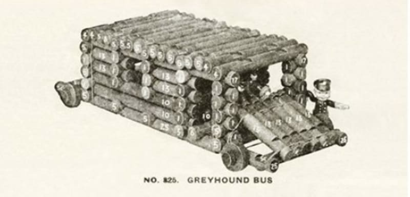 A Greyhound bus made from Lincoln Logs (plus wheels)