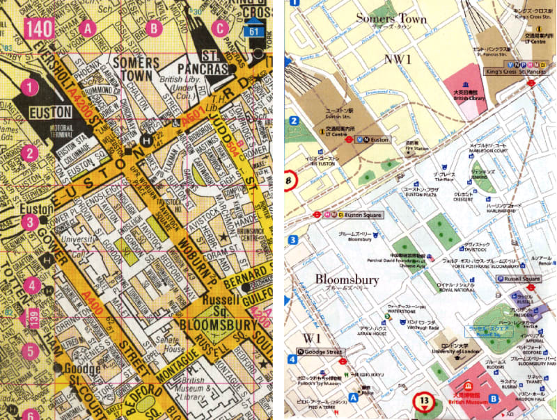 Bloomsbury in the London A-Z Street Atlas (left) and in the I Map Guide London (right) published in Tokyo