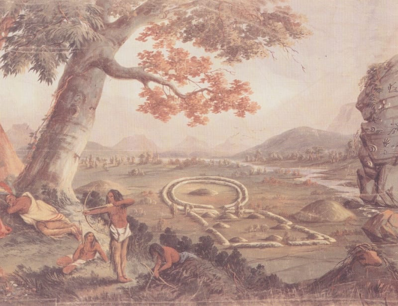 The Hopewell earthworks on which Circleville was founded: detail from John J Egan, 'Panorama of the Monumental Grandeur of the Mississippi Valley', c.1850, St Louis Art Museum, Eliza McMillan Fund