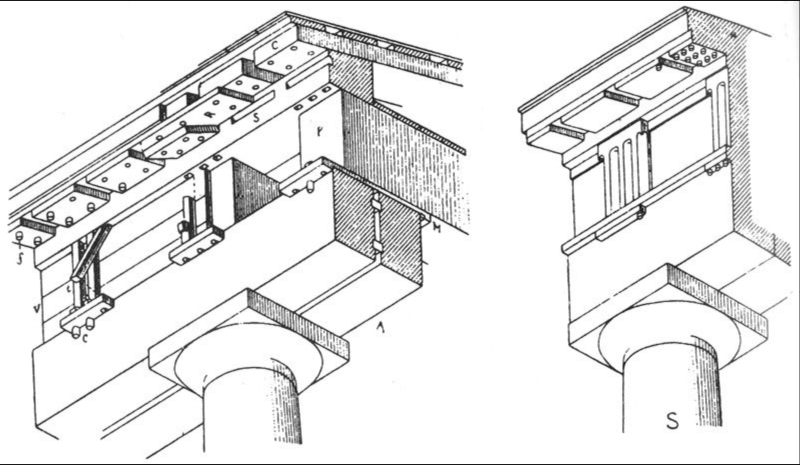 Wooden origins of triglyphs and metopes, according to Auguste Choisy, <em>Histoire de l'Architecture</em>