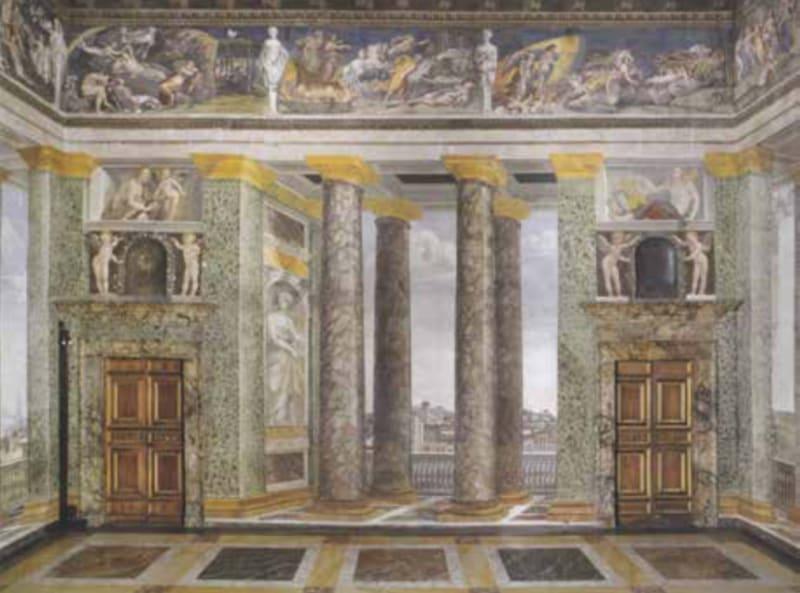 <em>Trompe l'oeil</em> columns and balconies painted by Baldassare Peruzzi at the Villa Chigi in Rome