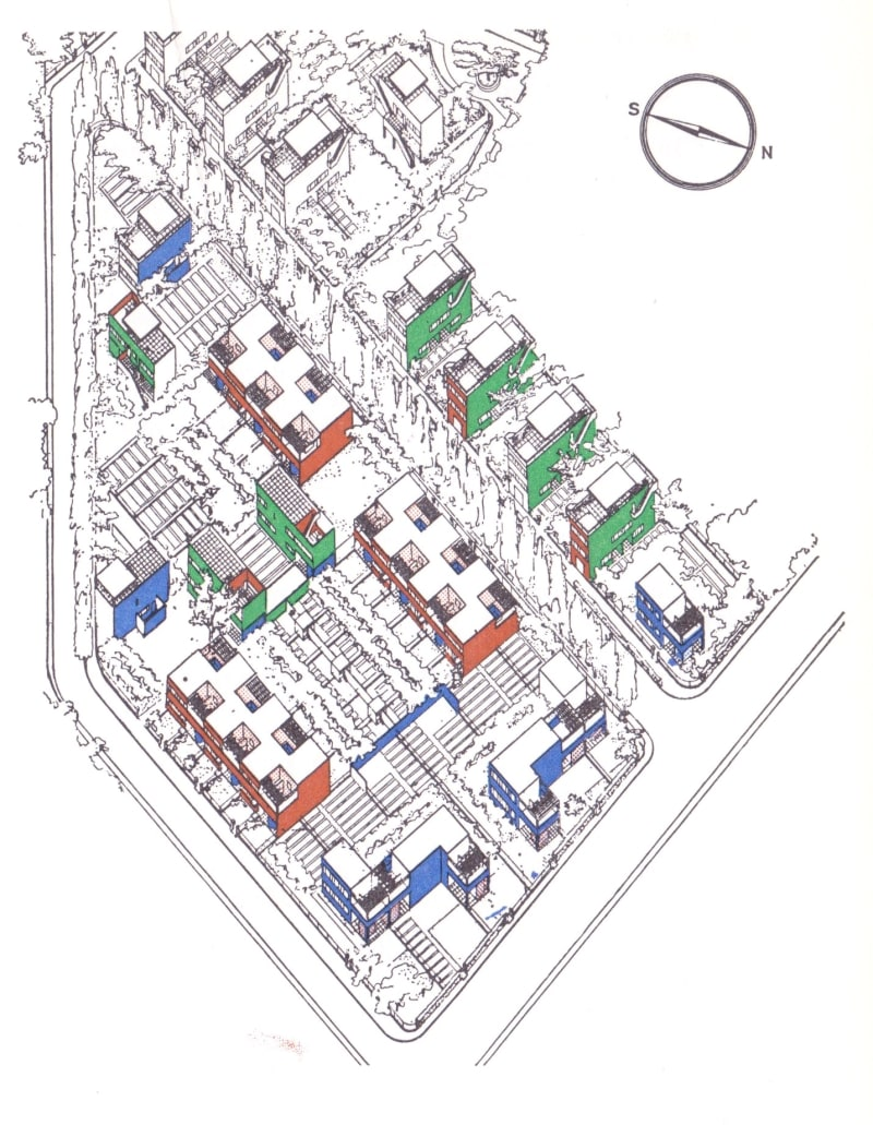 Aerial view of the Quarter Moderne Fruges, from Philippe Boudon, Le Corbusier's Pessac