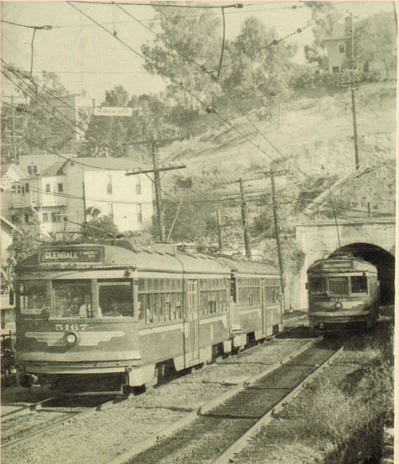 Red Cars on the Glendale Line, emerging from the tunnel into the Hill Street terminal