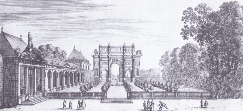 Painting by Jean Lemaire of the Arch of Constantine at actual size, in the gardens of the chateau of Rueil near Paris, 1630s: engraving by Israel Silvestre