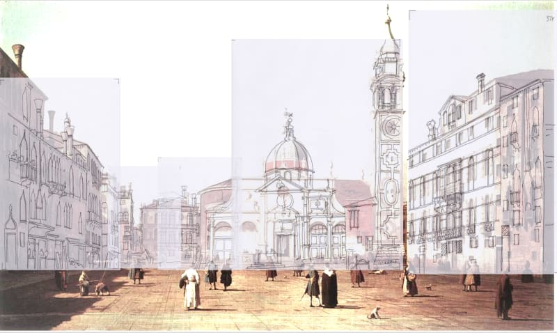 The Campo Santa Maria Formosa: Canaletto's sketches superimposed over his painting. The church and dome have been raised and enlarged