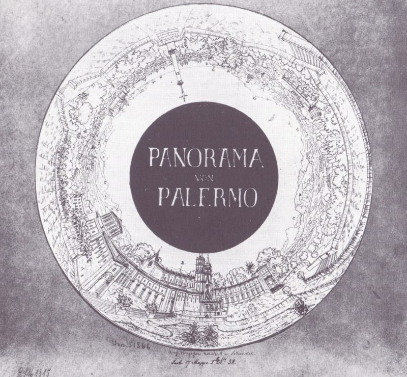 Ring-shaped drawing by Karl Friedrich Schinkel of his panorama of Palermo, printed as an advertisement, guide and souvenir.