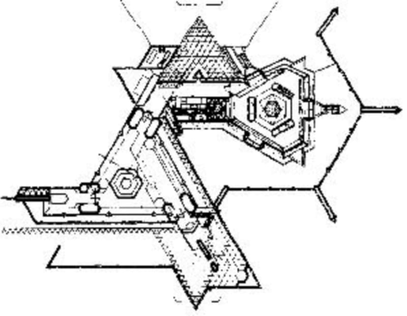 Plan of Shin'enKan (the House of the Faraway Heart) designed by Bruce Goff, extending the Joe Price Studio. The original studio is at the left, and the hexagonal gallery of Edo art at the right: from archinform.net