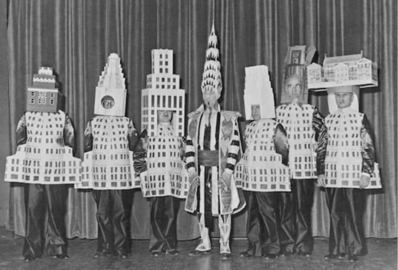 Skyscraper architects dressed as their buildings, at the Beaux Arts Ball in New York of 1931