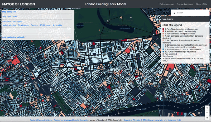 A map from the London Building Stock Model, showing domestic buildings (blue), non-domestic buildings (red), and mixed-use buildings