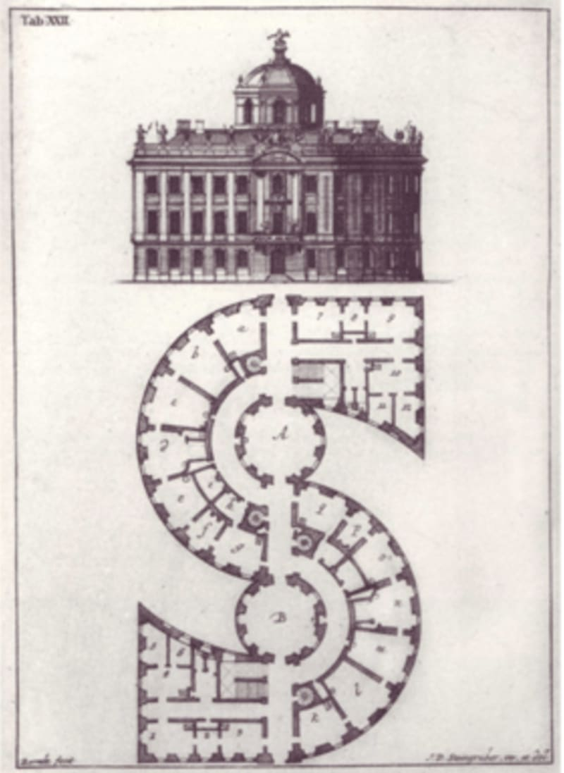 Mansion with an S-shaped plan by Johann David Steingruber, 1773
