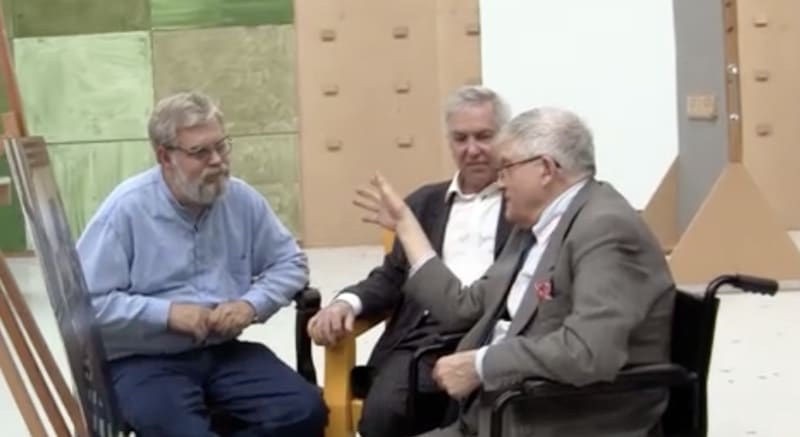 David Hockney, Jenison and I discuss Jenison's finished picture; copyright High Delft Pictures, all rights reserved