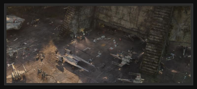 The Rebel Base on the jungle moon of Yavin 4 in the Star Wars films: photo from starwarsplaces.com, copyright Industrial Light & Magic