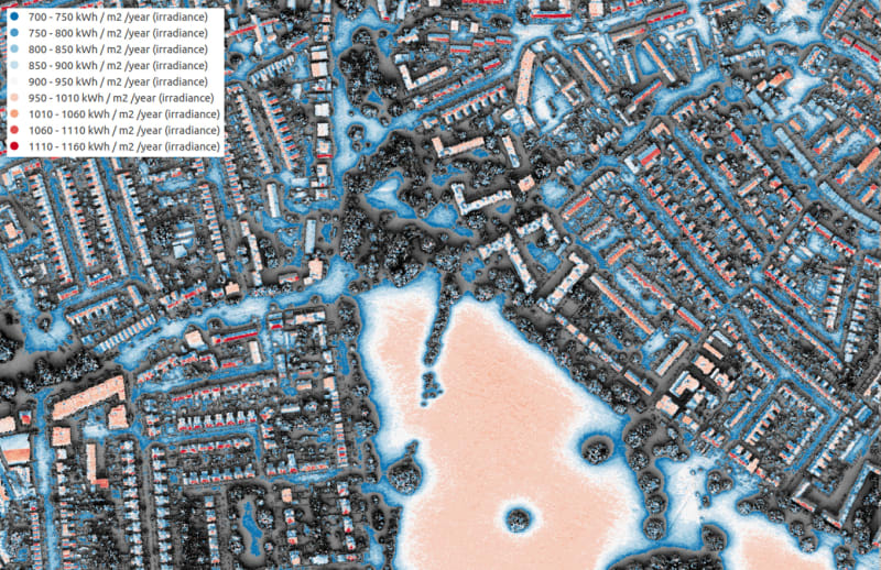 A section of the London Solar Opportunity Map: blue shows low levels and red shows high levels of solar radiation falling on roofs and land