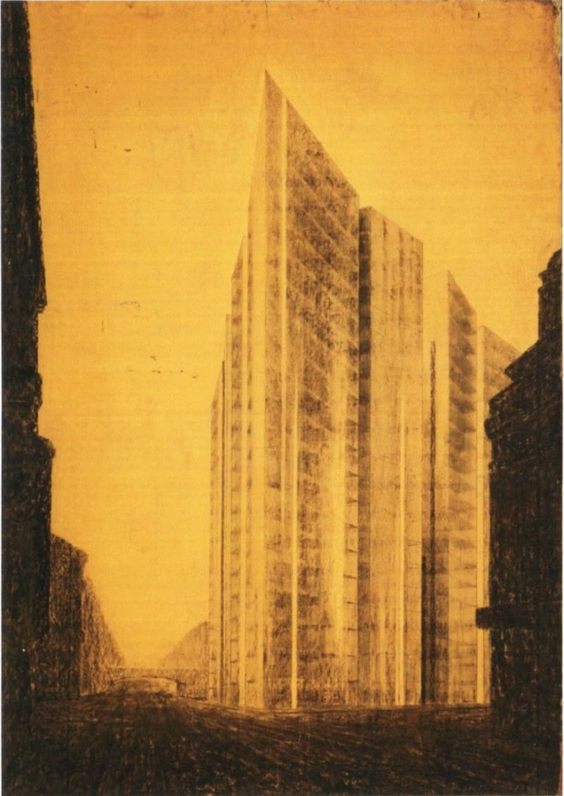 Mies van der Rohe, project for a glass skyscraper on Friedrichstrasse, Berlin, 1922: postcard, MOMA New York