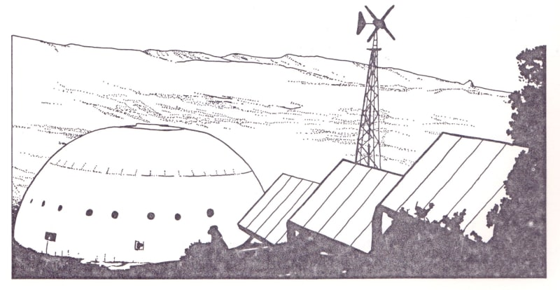 The house built by Robert Reines at Tijeras, New Mexico, built in 1972, showing the solar thermal collectors and wind turbine