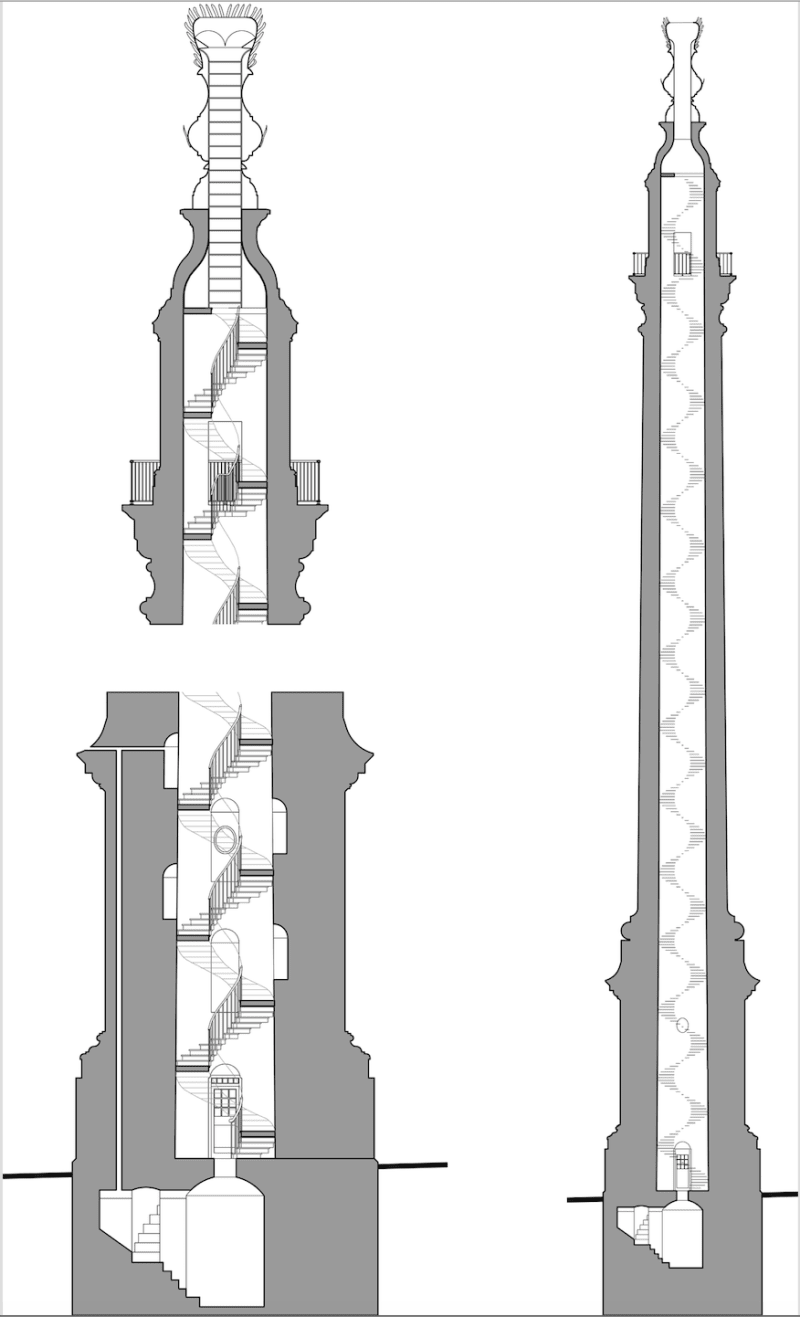 Section through the Monument to the Great Fire showing the basement laboratory and stairway to the hinged 'lid' of the flaming urn. Drawing by John Hare