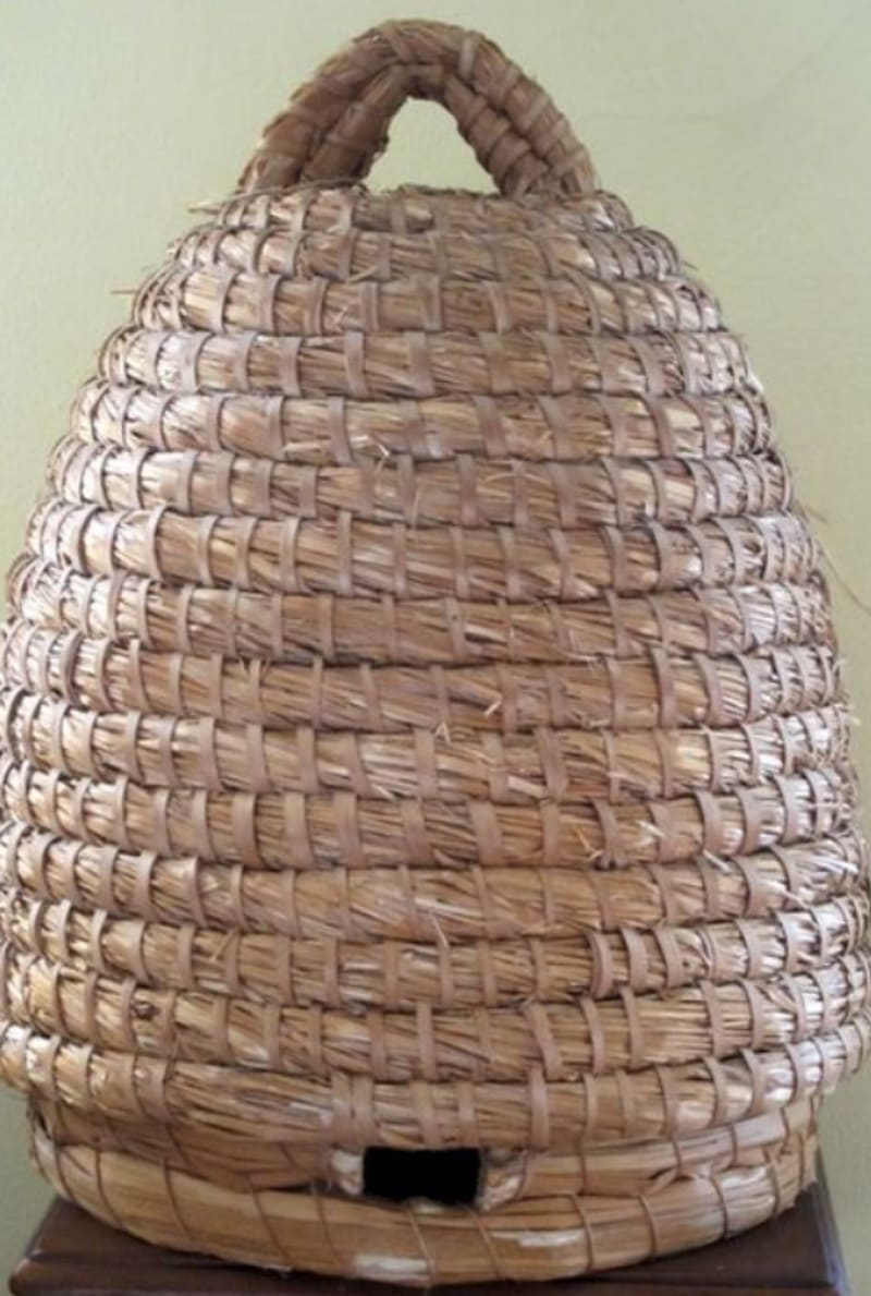 A skep for keeping bees: photo from Mr.Homegrown, root simple.com, 'How to make a bee skep'