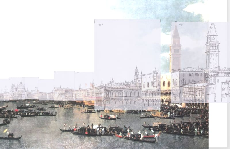 The Bacino di San Marco: Canaletto's sketches superimposed over his painting. The Campanile is moved to the left.