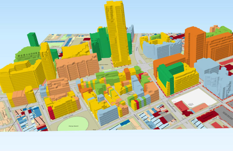 A 3DStock model of part of Bloomsbury in London, centred on University College Hospital. The colours code for Energy Performance Certificate grades