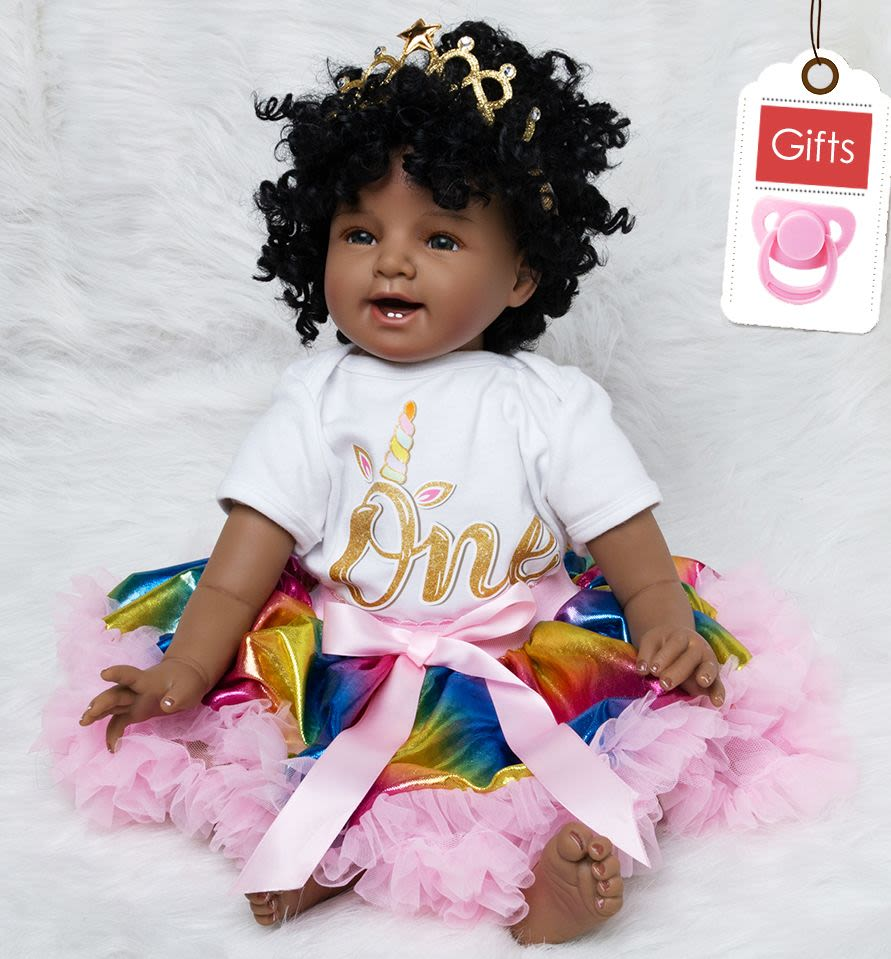 d0c0127e2002b Baby Doll Toy Girl 22 Inches Reborn Vinyl Babies Doll Black For Girls  Reborn Dolls Children Toys Special Offer Toy Soft Silicone