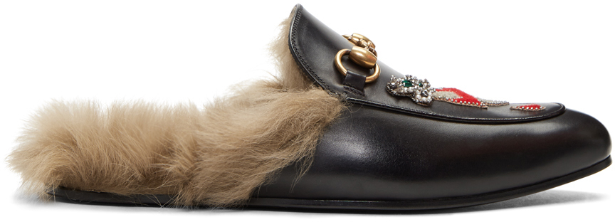 Gucci Leathers Black Lion & Pierced Heart Princetown Slip-On Loafers
