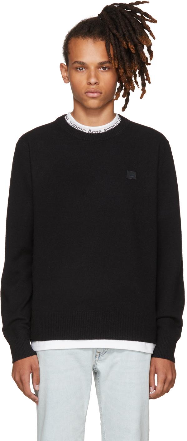 Acne Studios Tops Black Nalon Face Sweater