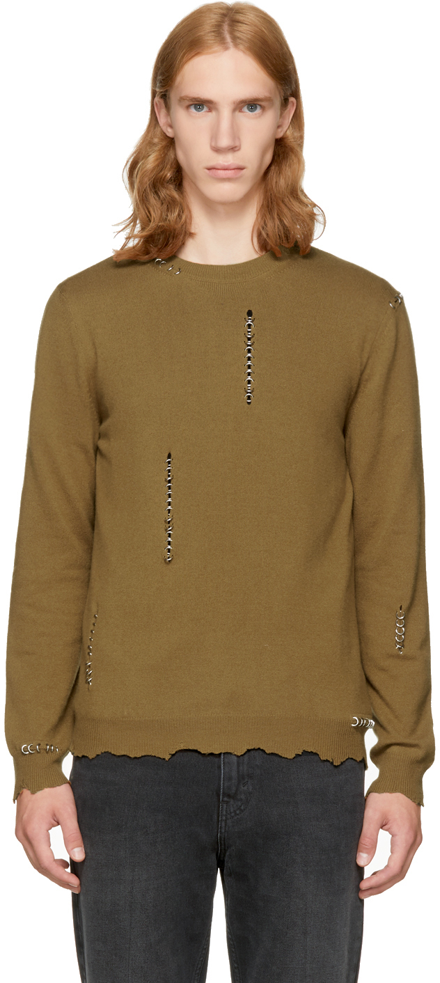 Alexander Mcqueen Clothing Tan Punk Crewneck Sweater