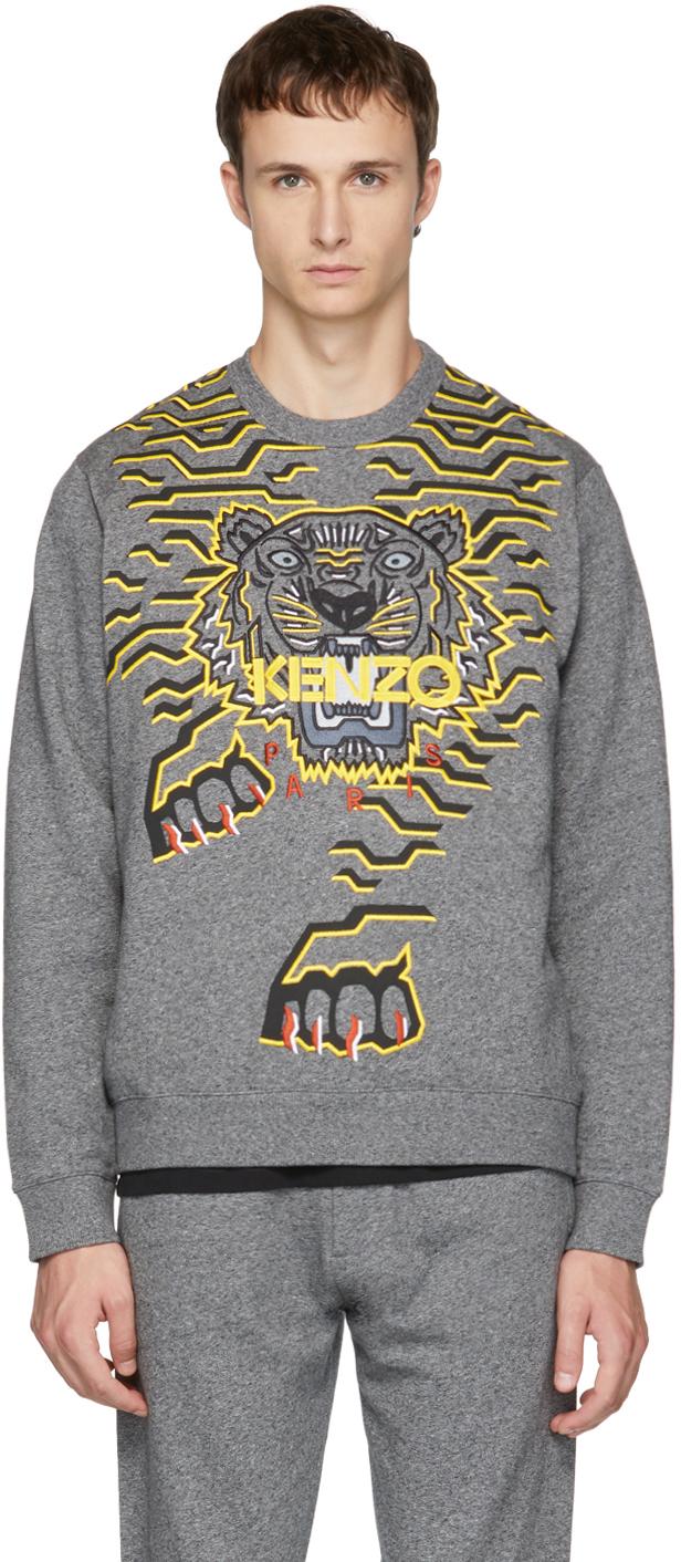 Kenzo Cottons Grey Geo Tiger Sweatshirt