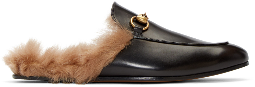Gucci Slippers Black Fur Princetown Slippers