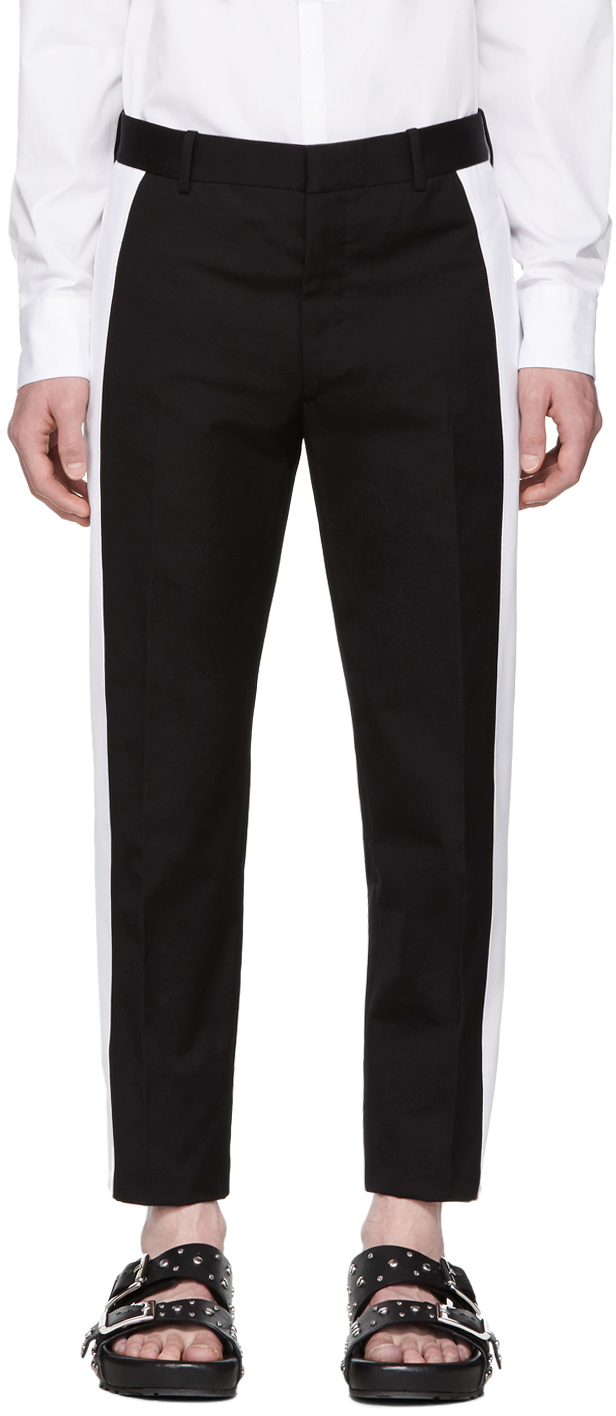 Alexander Mcqueen Cottons Black Striped Skinny Trousers