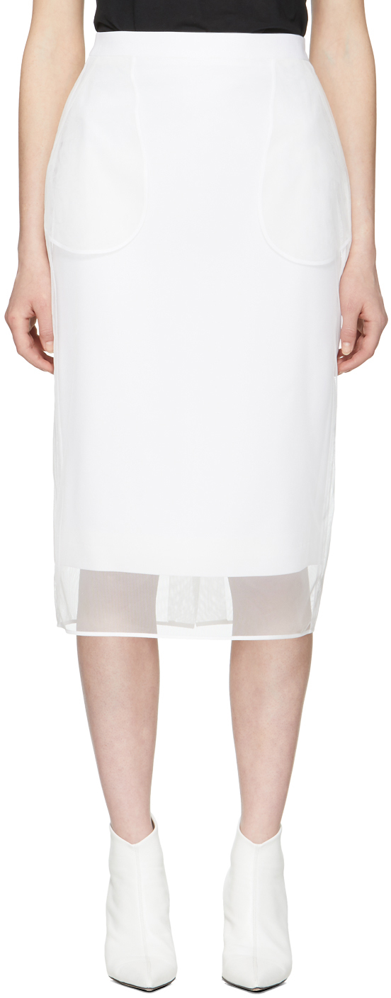 Givenchy Skirts White Tulle Mid-Length Pockets Skirt