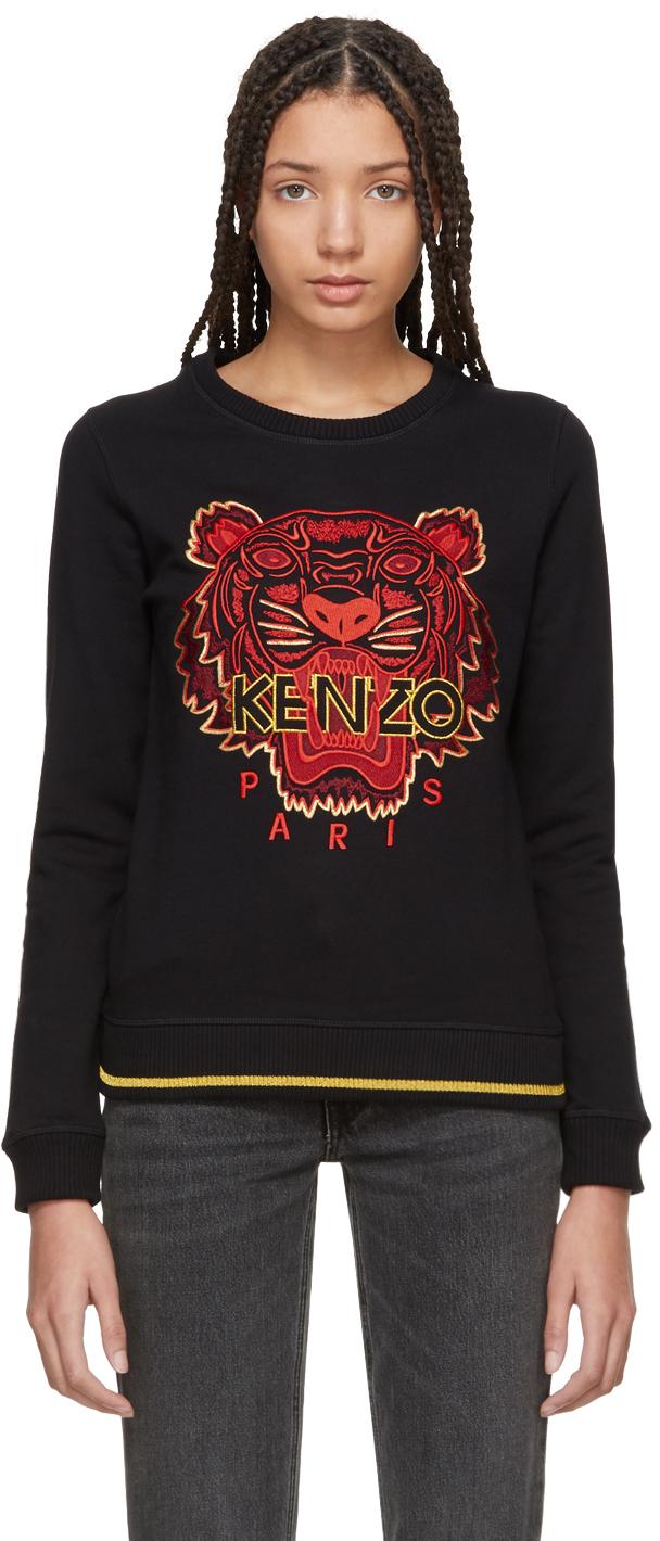 Kenzo Tops Black Tiger Sweatshirt