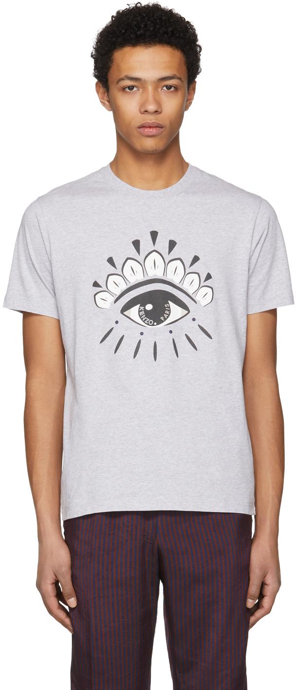 Kenzo Tops Grey Eye Logo T-Shirt