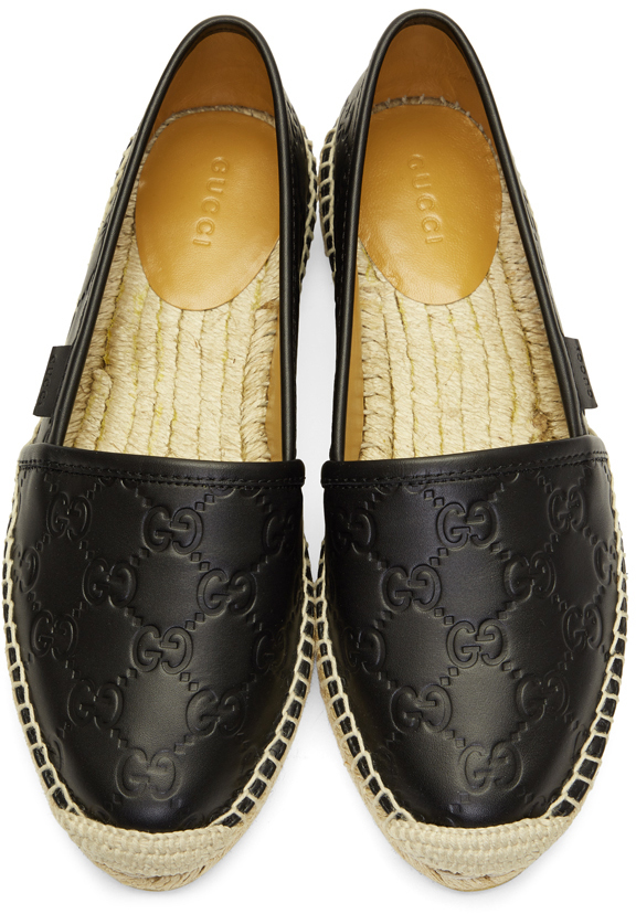GUCCI Leathers Black 'Gucci Signature' Espadrilles