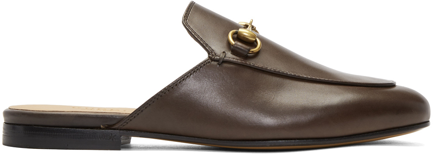 Gucci Loafers Brown Princetown Slippers
