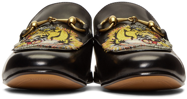 GUCCI Leathers Black Tiger Princetown Slippers