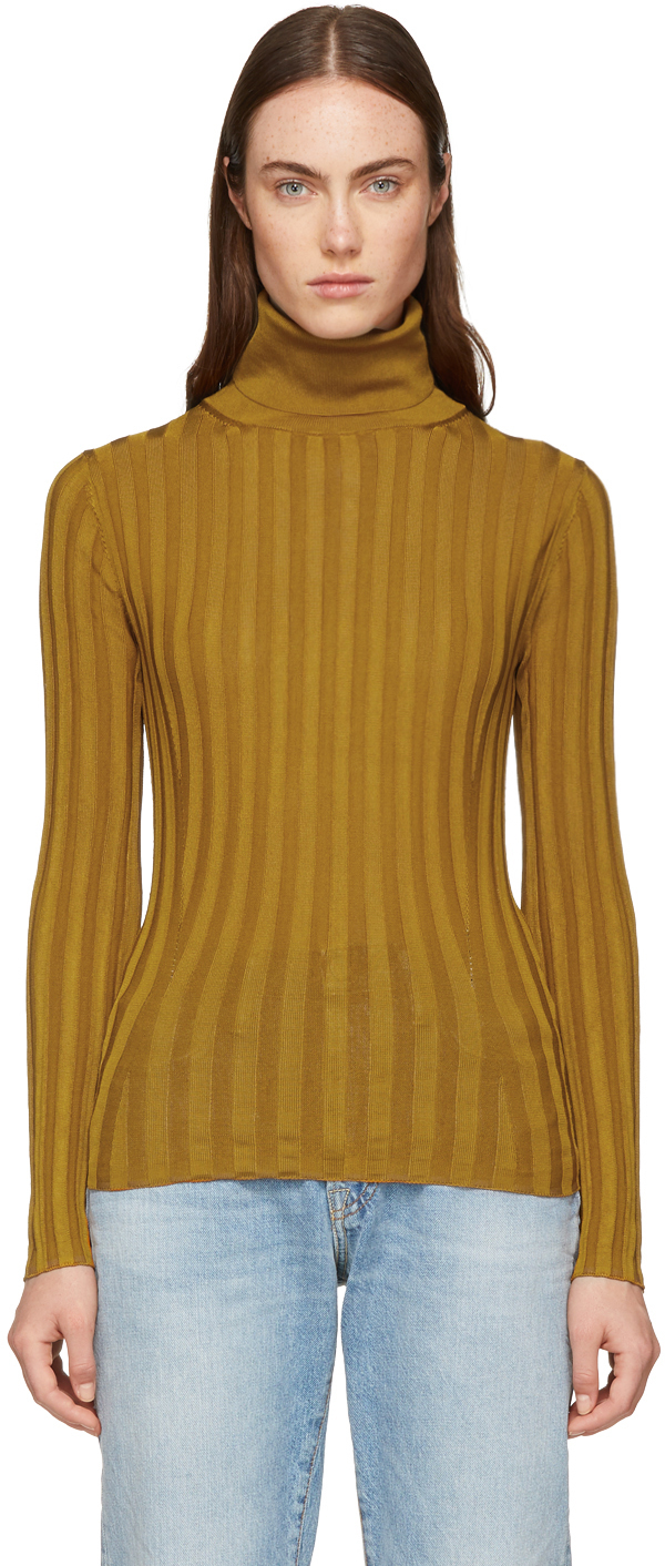 Acne Studios Tops Tan Fitted Turtleneck