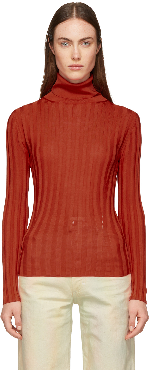Acne Studios Tops Red Fitted Turtleneck