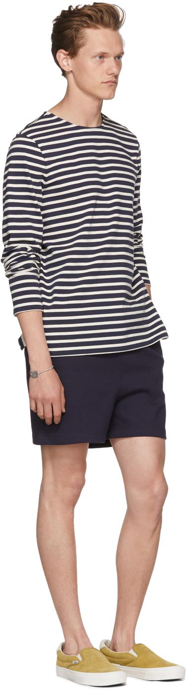 A.P.C. Shirts Navy & Off-White Long Sleeve Matt Sailor T-Shirt