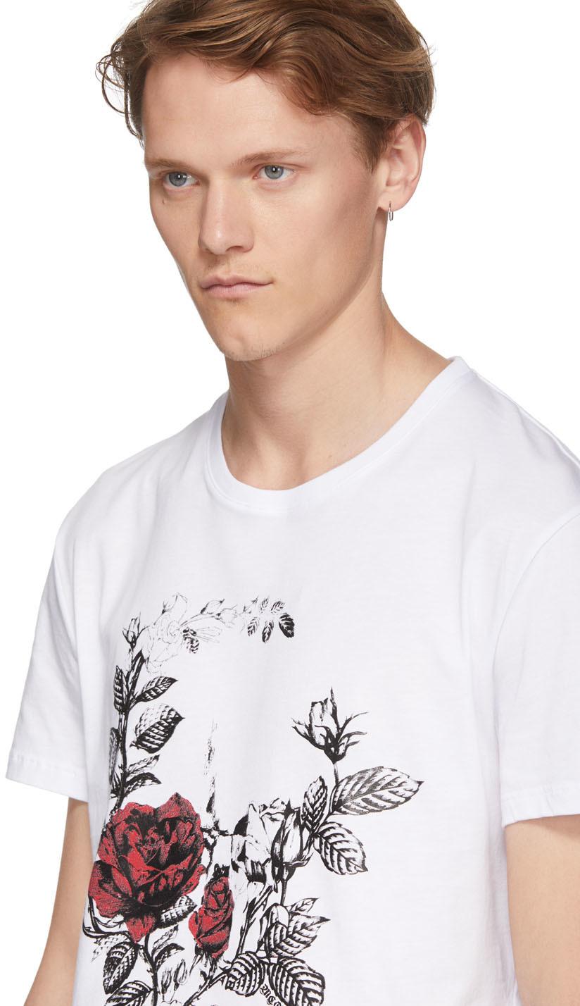 ALEXANDER MCQUEEN Shirts White Gothic Rose Skull T-Shirt