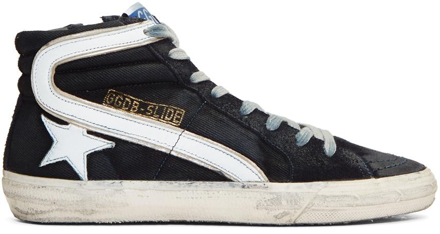 Golden Goose Tops Navy Slide High-Top Sneakers