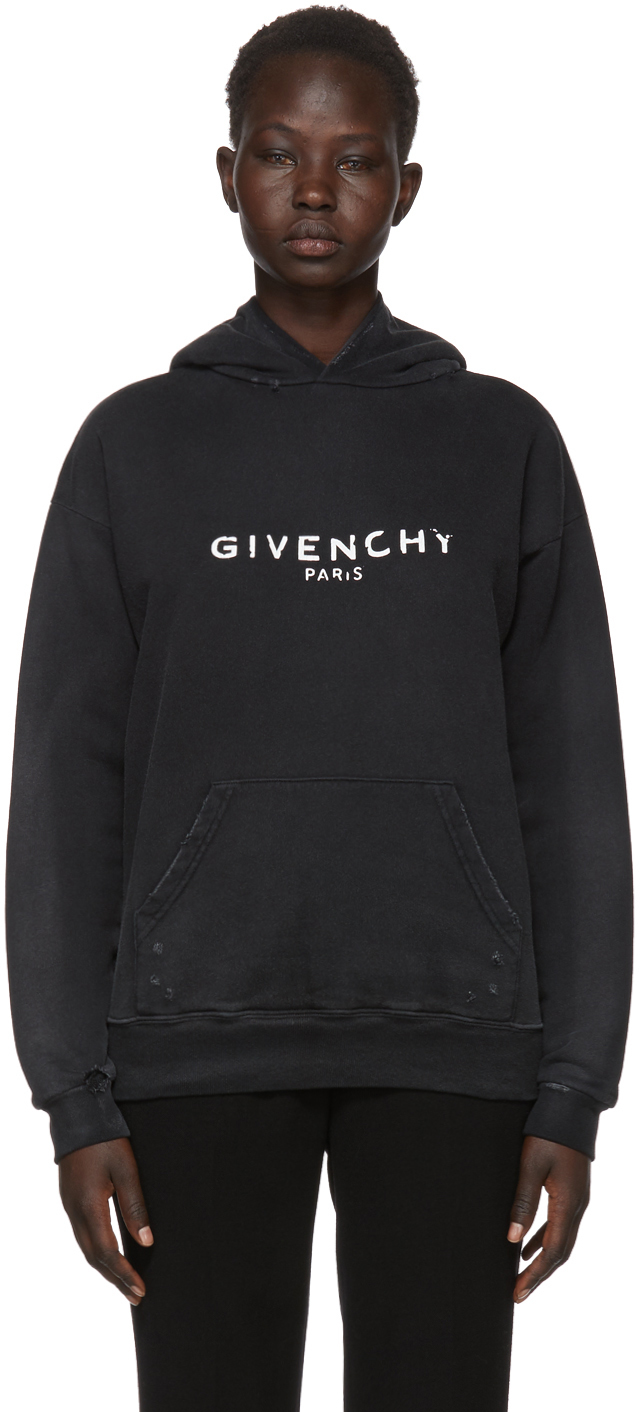 Givenchy Tops Black Destroyed Logo Hoodie