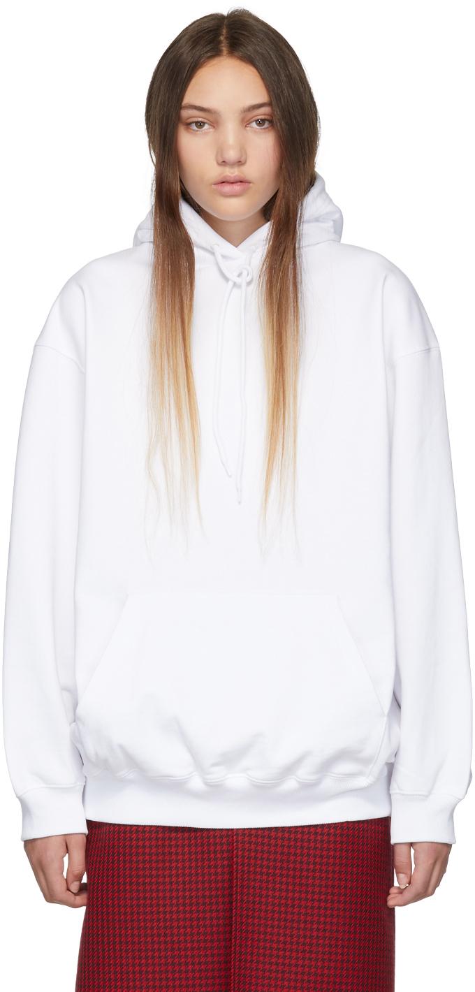 Balenciaga Tops White Back Logo Hoodie