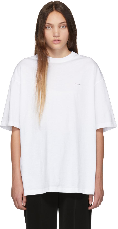 Balenciaga Shirts White Mini Logo Oversized T-Shirt